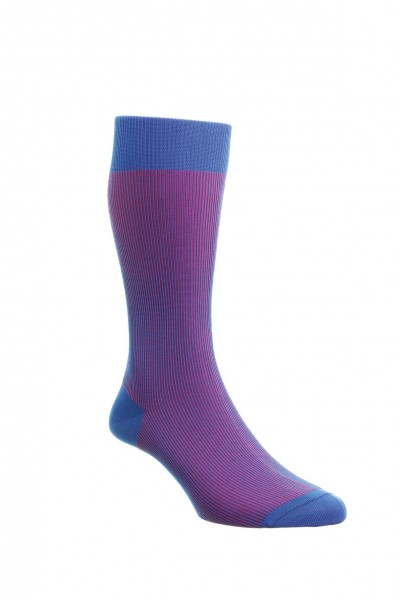 Pantherella Mens Santos Cotton Lisle Socks Blue