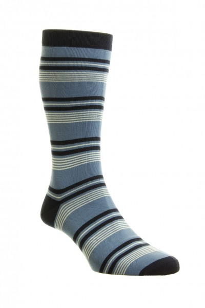Pantherella Mens Solitaire Cotton Socks Blue
