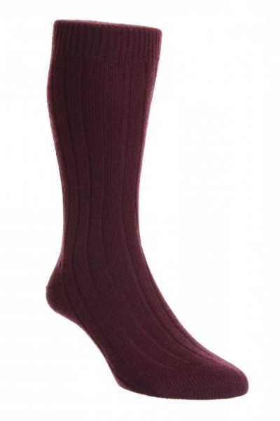 Cashmere Ribbed Waddington Socks Port Red