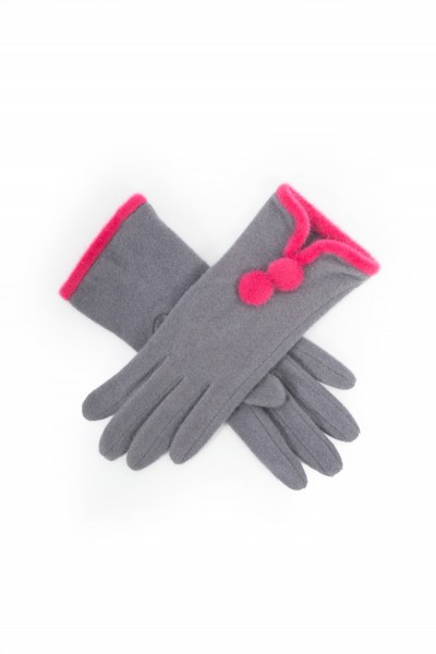 Powder Christabel Wool Gloves Charcoal & Magenta