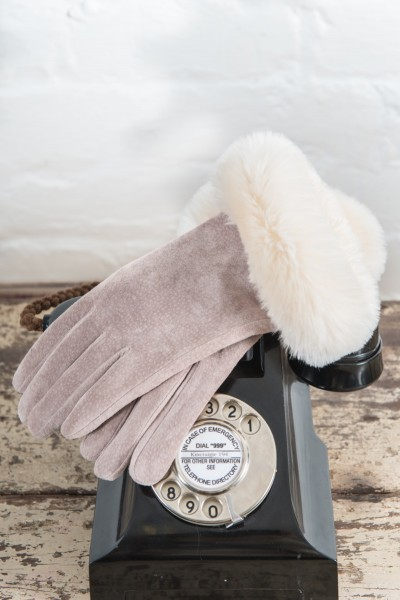 Powder Claudette Suede Gloves With Faux Fur Trim Stone