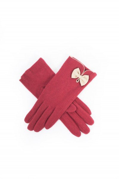 Powder Cordelai Wool Gloves berry & Ivory