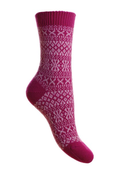 Pantherella Faith Cashmere Fairisle Socks Damson Pink