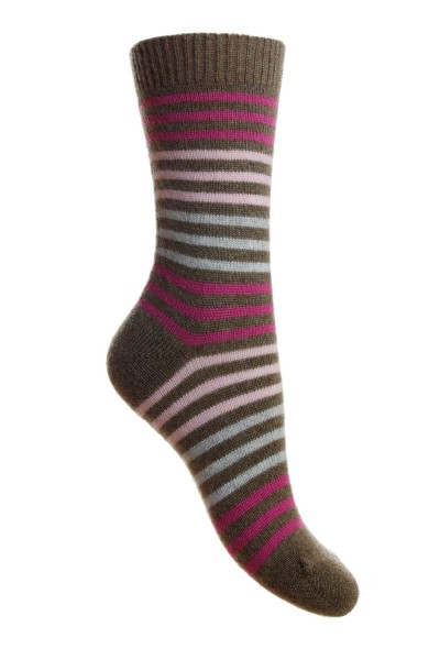 Pantherella Ladies Kyra Cashmere Striped Sock Mink