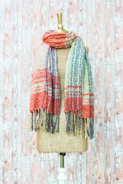 Powder Maggie Checked Scarf Lilac & Mustard