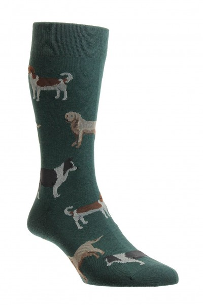 Pantherella Mens Peder Dog Socks Conifer