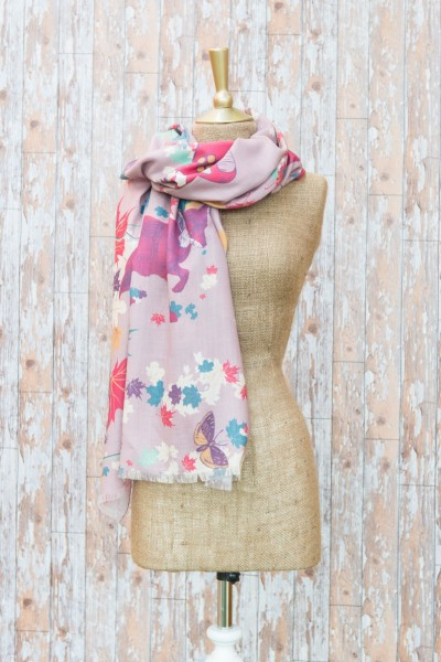 Powder Scarf Woodland Friends Print