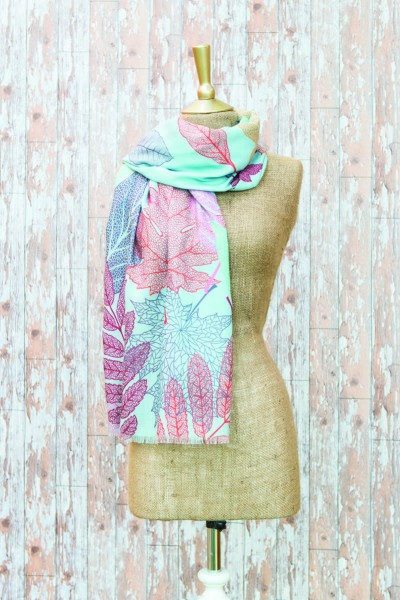 Powder Scarf Skeleton Leaf Print