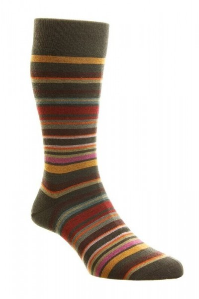 Pantherella Mens Quakers Merino Striped Socks Chocolate
