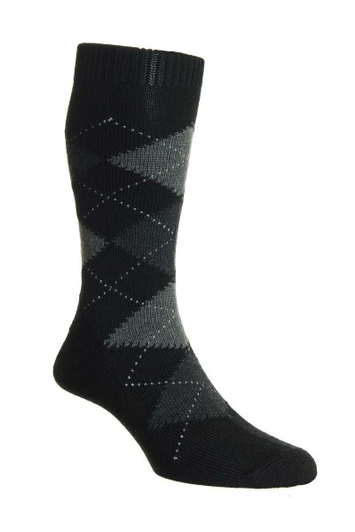 Pantherella Mens Racton Merino Socks Black Argyle