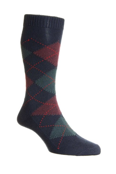 Pantherella Mens Racton Merino Socks Navy Argyle