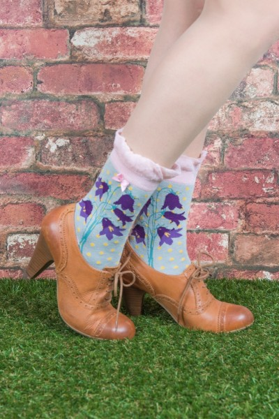 Powder Bamboo Ankle Socks Bluebell Print