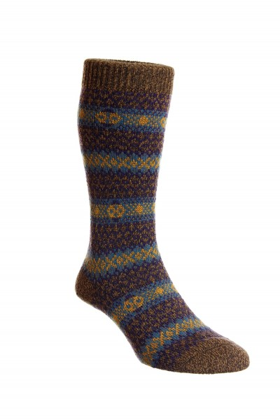 Pantherella Mens Felbrigg Wool Socks Conker