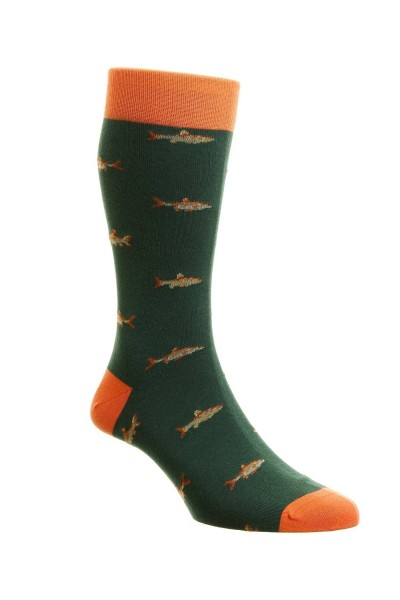 Pantherella Mens Taswood Cotton Fish Socks Conifer