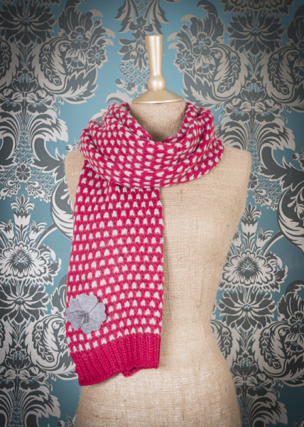 Powder Camille Scarf Knitted Raspberry