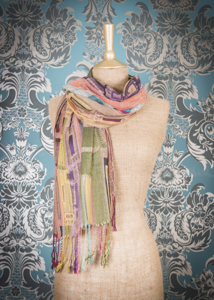 Powder Imogen Scarf Checked Green & Pink