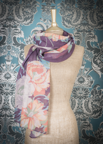 Powder Scarf Floral Purple