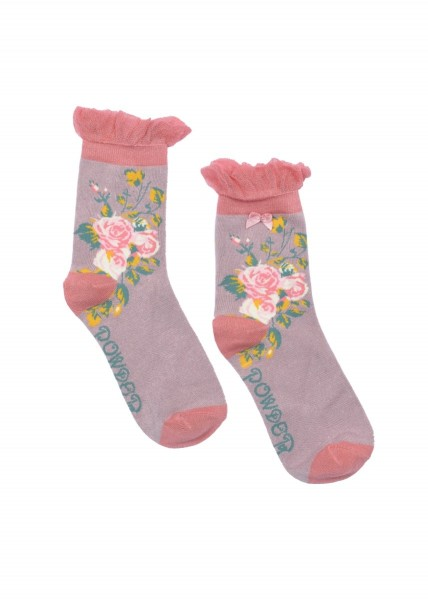 Powder Bamboo Ankle Socks Rose Lavender Print
