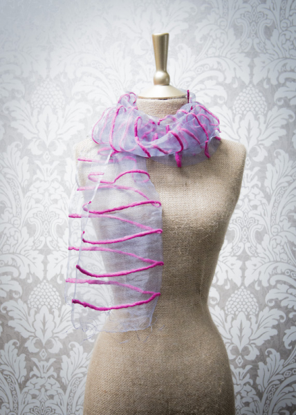 Powder Wish Organza Fuchsia Pink Scarf
