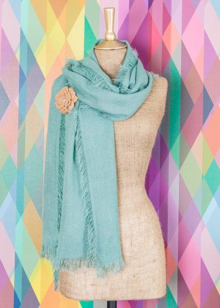 Powder Abigail Scarf With Brooch Aqua