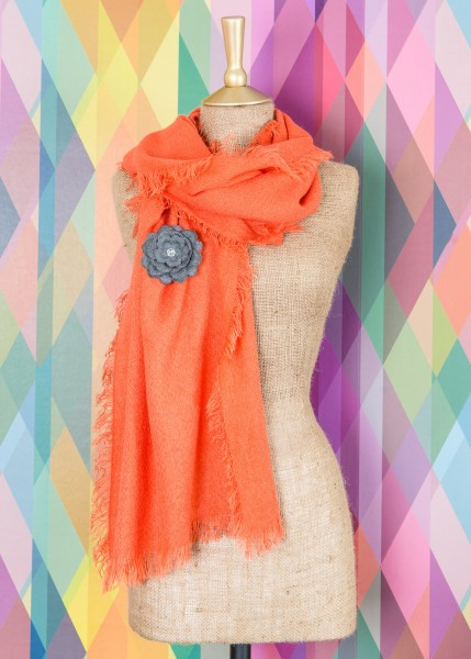 Powder Abigail Scarf With Brooch Tangerine