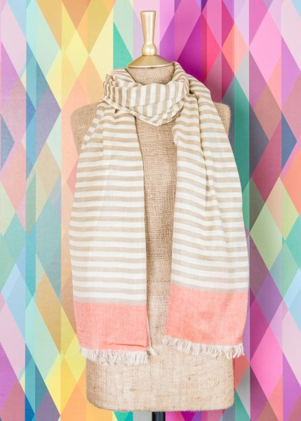 Powder Bianca Striped Scarf Stone & Tangerine