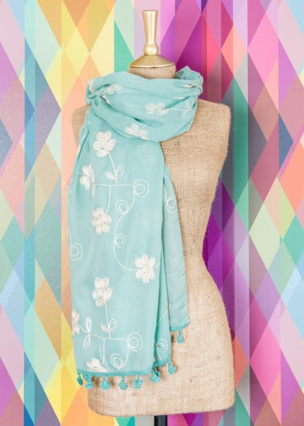 Powder Martha Floral Embroidered Scarf Aqua