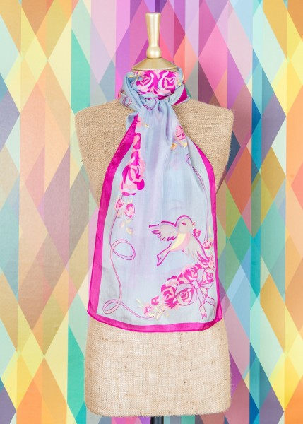 Powder Silk Scarf Bluebird