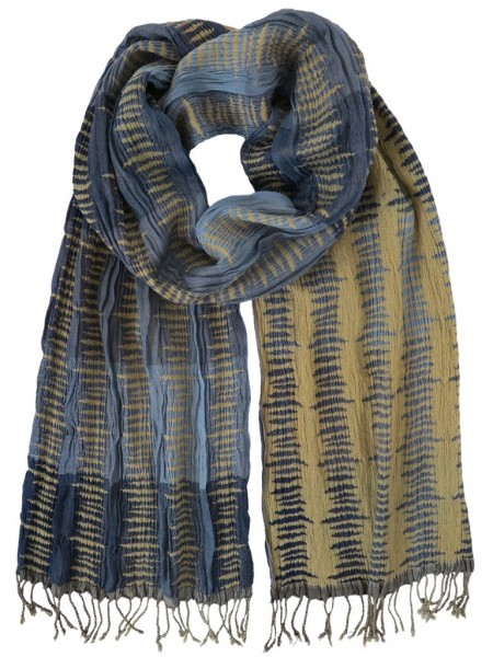 Hand Woven Silk Scarf Blocked Blue