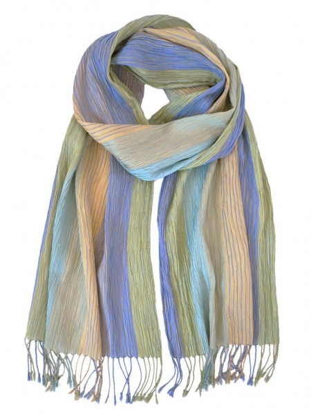 Hand Woven Silk Scarf Crinkle Yellow