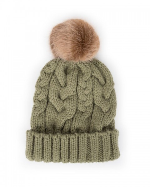Powder Charlotte Pom Pom Hat Pea Green