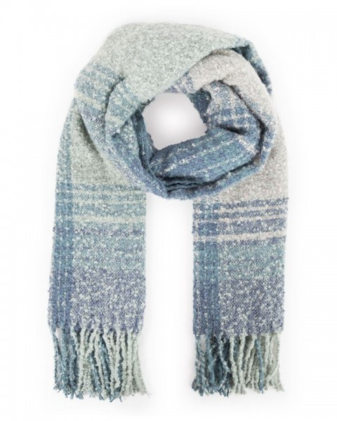 Powder Maggie Checked Scarf Ice Blue