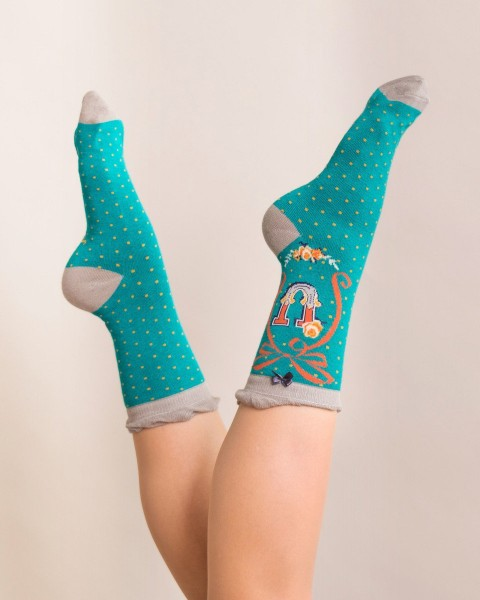 Powder Bamboo Alphabet Socks U
