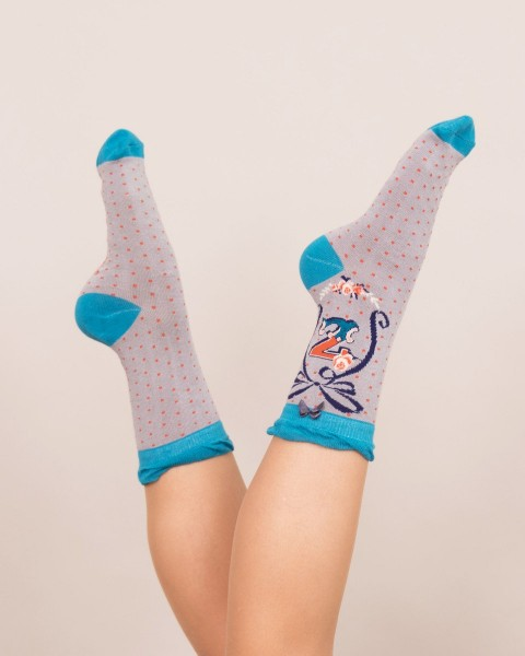 Powder Bamboo Alphabet Socks Z