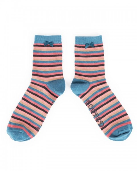 Powder Striped Bamboo Ankle Socks Teal