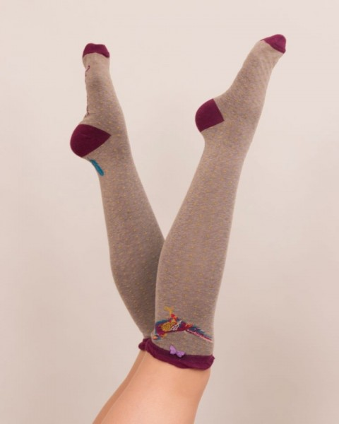 Powder Pheasant Bamboo Knee Socks Stone