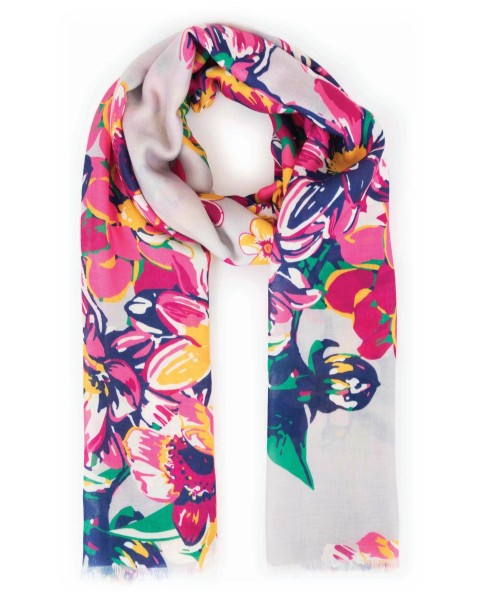 Powder Summer Floral Scarf Slate