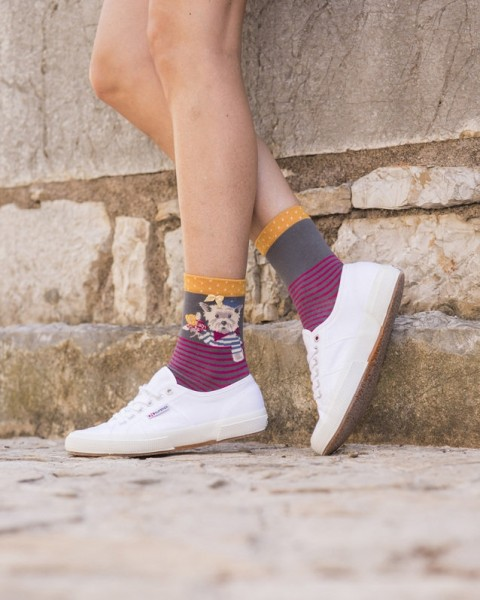 Powder Bamboo Ankle Socks Westie