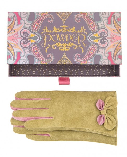 Powder Antoinette Suede Gloves Moss Green