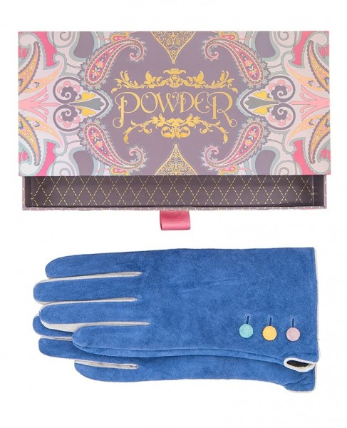 Powder Babette Suede Gloves Navy Blue