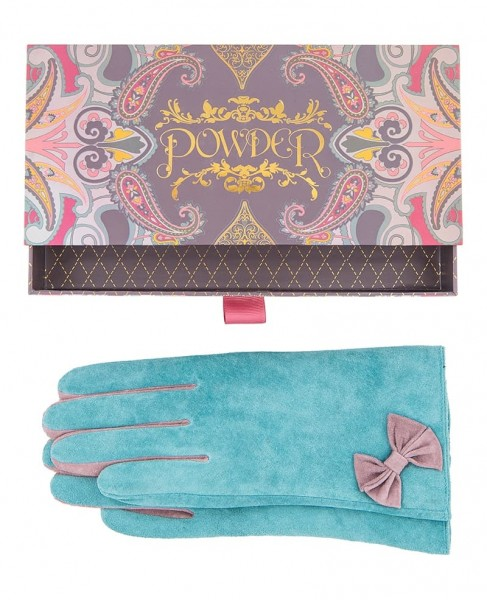 Powder Gertrude Suede Gloves Teal