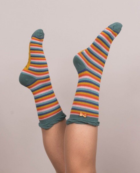 Powder Bamboo Ankle Socks Green Stripe