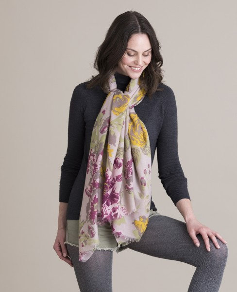Powder Berry Floral Print Scarf