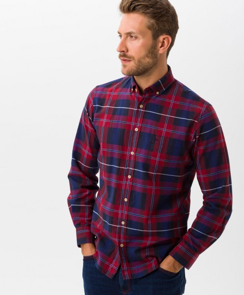 Brax Dries Checked Shirt Burgundy Red