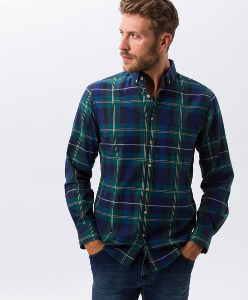 Brax Dries Checked Shirt Green