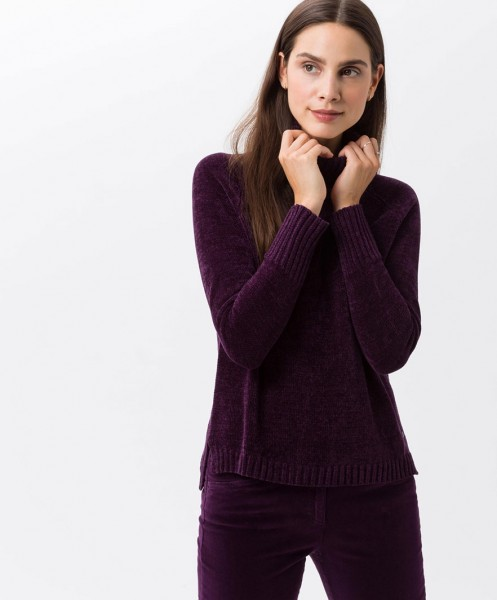 Brax Lea Chenille Roll Neck Jumper Mulberry