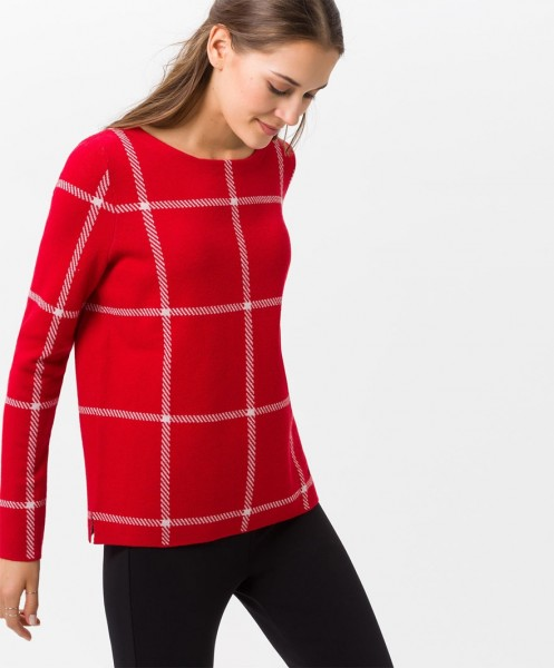 Brax Liz Checked Jumper Red
