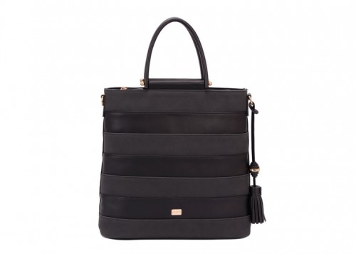 David Jones Striped Handbag Black