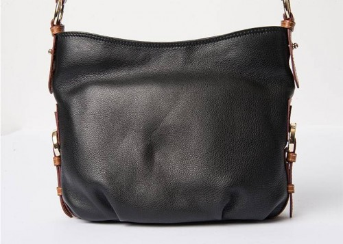 Nova Leather Shoulder Handbag Black Tan Style - 6048