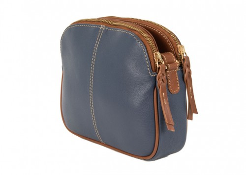 Nova Leather Cross Body Handbag Denim & Tan Style 6062